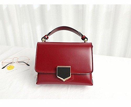 Einzelne Schulter Diagonal Paket Einfache Weise Clamshell Kette Kleine Quadratische Tasche Rot
