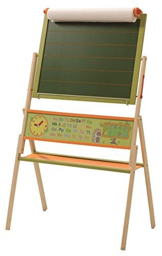 Preisvergleich Produktbild roba Tafel 'ABC Igel', Kindertafel inkl Papierrolle, Standtafel drehbar mit Schreibtafel liniert, Maltafel magnetisch, Uhr, ABC, Zahlen und Ablage, Holz, grün/natur