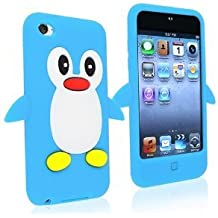 SKS Distribution® azul claro silicona pingüino FUNDA / CARCASA / COVER para Apple Ipod Touch 4
