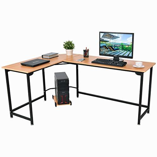 COSTWAY Computertisch mit CPU-Ständer, Schreibtisch L-Form, Eckschreibtisch, PC-Tisch Bürotisch Ecktisch Natur -