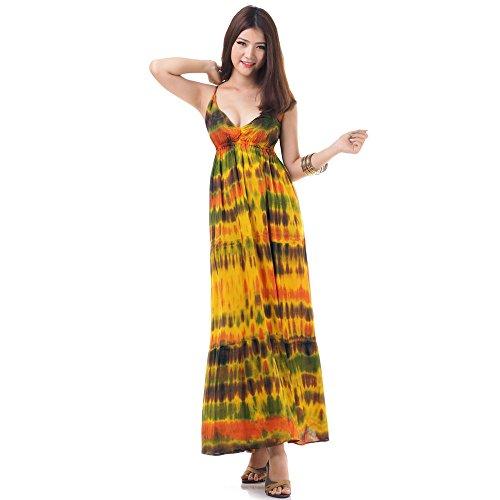 Langes Hippie Batik Kleid Baumwolle S M 36 38 40 42 (Gelb) (Tunika Spaghetti Max Der)