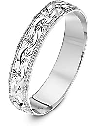 Theia 9 ct Yellow, White or Rose Gold, Garland Flowery Design with Millgrain/Beaded Edges, Polished, 5-7 mm Wedding Ring