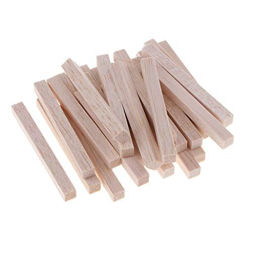 B Baosity Quadratischer Balsaholz Stab Holzstäbchen für DIY Handwerk für Modellbau, Modellbau, Haus und Garten Dekoration - Holz, 20 Stück 80mm