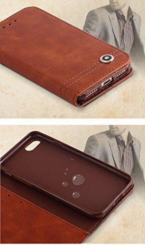 Coque iPhone 7,Coque iPhone 7 Plus, Coque iPhone 6/6S, Coque iPhone 6Plus/6S Plus, Coque iPhone 5/5S/SE, [Porte-cartes] étui Protection en Cuir Portefeuille multi-Usage Housse Rabattable(LXT-09) B