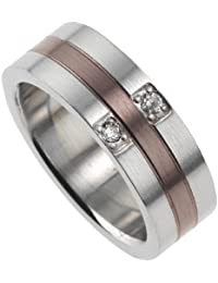ZEEme Stainless Steel Edelstahlring 2 farbig Stahl/Braun 3898070004