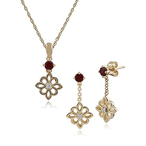 Gemondo Ohrstecker 9Karat Gelbgold Nasenstecker Diamant, quadratisch und 2PT Diamant 45cm Halskette (0,03 Ct Diamant-set)