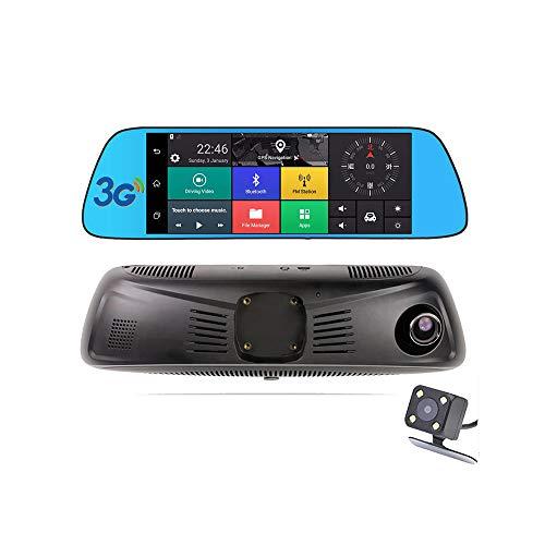 KUNFINE® K800 17,8 cm großer Touchscreen multifunktional Android GPS Navi Dashcam Auto DVR Spiegel Digital Video Recorder Dual Kamera Aufnahme WiFi Bluetooth mit 3G/FM Übertragung (Spiegel-auto-video-recorder)
