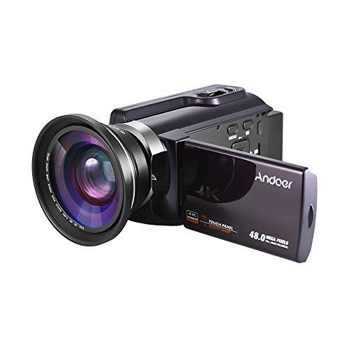 Andoer hdv-534k 4k 48mp wifi videocamera digitale con obiettivo macro grandangolare 0.39x novatek 96660 chip touchscreen capacitivo da 3