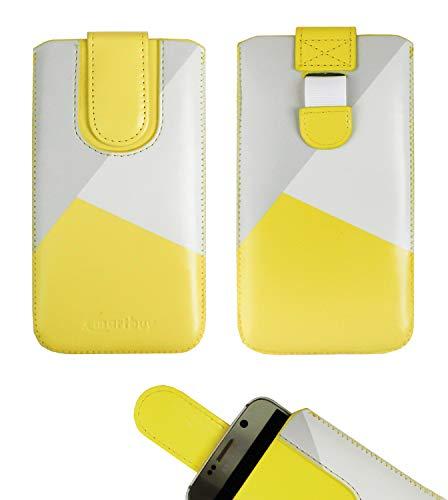 emartbuy Gelb/Grau Premium-Pu-Leder-Slide In Case Abdeckung Tashe Hülle Sleeve Halter (Größe 5XL) Mit Zuglaschen Mechanismus Geeignet Für Die Unten Aufgeführten Smartphones