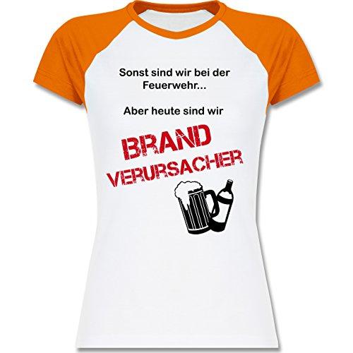 Feuerwehr - Brandverursacher - zweifarbiges Baseballshirt / Raglan T-Shirt  für Damen Weiß/Orange