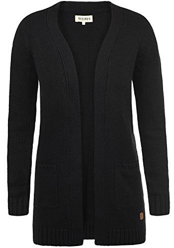DESIRES Paula Damen Lange Strickjacke Cardigan Grobstrick Winter Longstrickjacke mit V-Ausschnitt, Größe:XL, Farbe:Black (9000)
