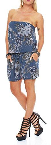 malito Damen Einteiler mit Flower Print | kurzer Overall mit Stoffgürtel | Jumpsuit �?Playsuit �?Romper 8058 Blau