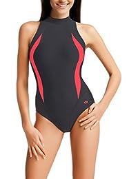 gWINNER Maria–Bañador Sport Bañador Kiama–Mujer einteilig muy cómodo y elástico, material de alta calidad. Fabricado en la ue Lena, Grau/Hellrosa, 50