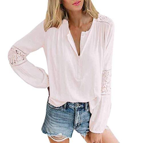 Kostüm Liegende Katze - ❤️ AG&T ❤️ Damen Casual Lace Patchwork Shirts V-Ausschnitt Langarm Top lose T-Shirt Bluse