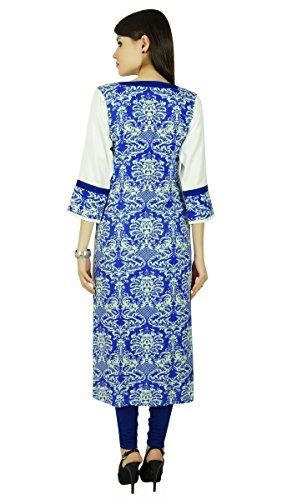 Phagun Ethnische Bollywood Kurti Damast Rayon Kurta Frauen Tunikakleid Off-Weiß und Blau