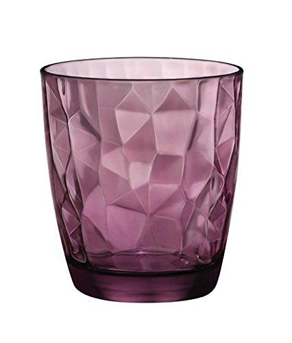 Bormioli set 3 bicchieri bicchiere trasparenti viola acqua bibita cocktail 30cl diamantati linea diamond