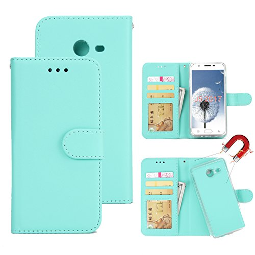 SOUNDMAE Samsung S6 Wallet Case, Magnetic Detachable Premium PU Leather Wallet Case 2in1 Removable Protective Flip Cover With Card Slot Cash Pocket for Samsung S6 [Mint Green]