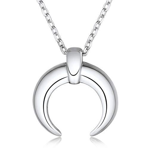 ChicSilver 925 Sterling Silber Crescent Moon Halskette für Frauen Böhmischen Minimal Schmuck...