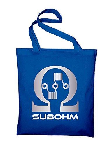 Subohm Culture Dampfer Logo Jutebeutel, Beutel, Stoffbeutel, Baumwolltasche, gelb Royalblau
