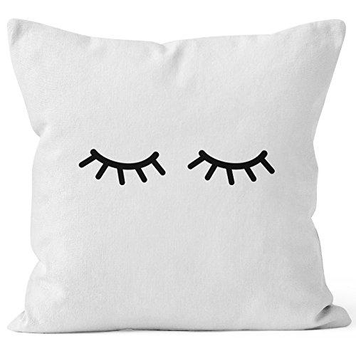 Kissenbezug Schlafende Augen Wimpern Eye Lashes Müde Schlafen Mascara Kissen-Hülle Deko-Kissen Baumwolle MoonWorks® weiß 40cm x 40cm