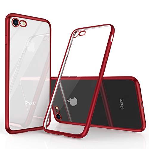 Humixx iPhone 8 Hülle, iPhone 7 Hülle, Hochwertigem Silikon TPU Ultra Dünn Stoßfest, Anti-Fingerabdruck, Anti-Scratch Transparent Soft Hülle Crystal Clear Weich Handyhülle für iPhone 8/7-Rot