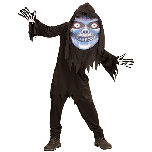 Amakando Grim Reaper Kinderkostüm Kinder Geister Kostüm Tod Halloween Verkleidung Jungen Monster Halloweenkostüm Horrorkostüm Zombie Sensenmann Kostüm mit Maske