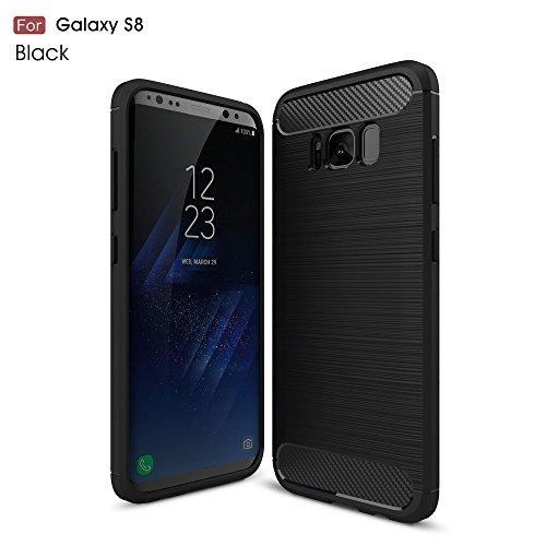 Samsung Galaxy S8 Hülle, MHHQ Flexiblem Ultra Slim TPU Case Silikon Hybrid Schutzhülle Kohlenstoff-fasern Tasche Slim-Fit Cover für Samsung Galaxy S8 -Schwarz