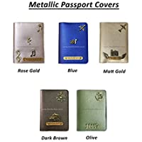 I Love Fashion Faux Leather Personalised Metallic Saffiano Passport Cover for Men and Women