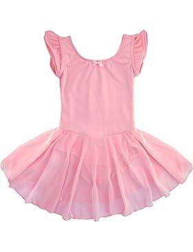 Dancina Mädchen Kurzarm Ballettkleid aus Baumwolle mit Flügelärmeln
