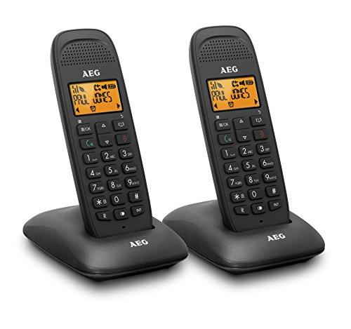 AEG Voxtel D85 Twin - Teléfono inalámbrico DECT con contestador automático: pack de dos, negro