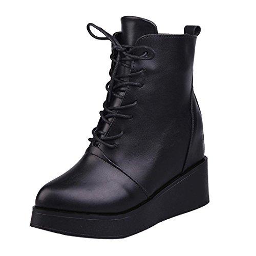 Zapatos de mujer Botas de mujer Botines Mujer Sexy Moda Plataforma Punk Talón cuadrado Casual Negro Corto Martín Botas LMMVP (38, Negro)