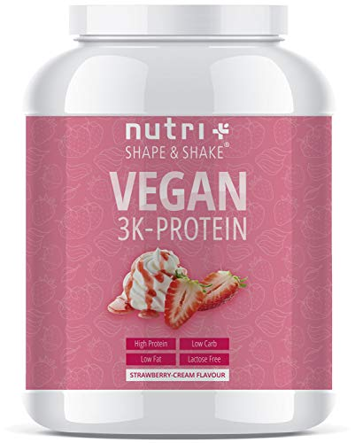 PROTEIN PULVER VEGAN Erdbeer Sahne 1kg - 83,7% Eiweiß - Nutri-Plus Shape & Shake pflanzliches Eiweißpulver - Veganer Proteinshake Strawberry Cream - In Deutschland hergestellt