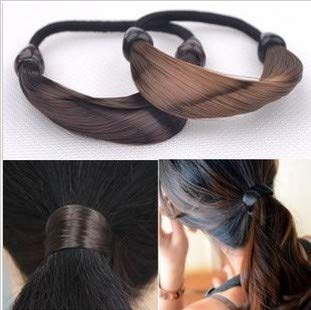 deschwanz Geflecht Twisty fluoreszierenden Gradienten Perücke Gummiband Haar Seil Haarband gebunden Haar Seil Haarschmuck, Twist Braid braun ()