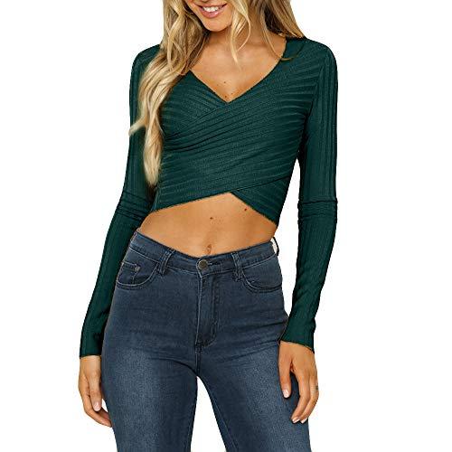 Tefamore Femmes Casual Knit V Neck Shirt à Manches Longues Sweat Courtes Tops Chemisier(M,Vert)