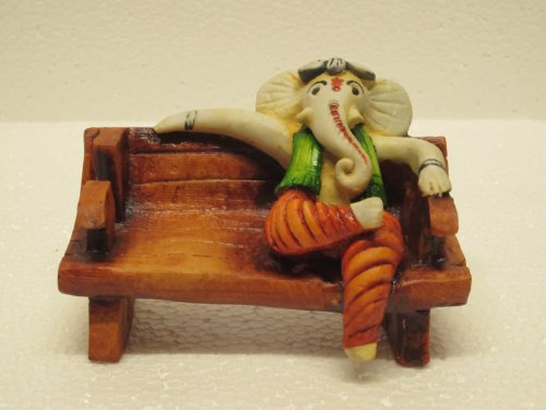 "Clickshop9 Sittimg Ganesha Statue Decor Religious Artifact Showpiece Gifts (Multicolor, 6""*3""*4"")"