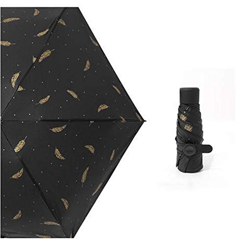 BBQBQ Sonnenschirm Feather rain Automatikschirm Dreifachautomatikschirm Fünffachschirm Feder schwarz