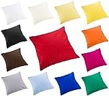 Moon 2er Pack Luxury Linon Kissenbezug Kissenhülle mit Reißverschluß100% Baumwolle (Weiß, 40x40)