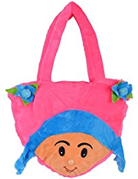SRT Girls' School Bag, Travelling Bag, Carry Bag, Picnic Bag, Teddy Bag Handbag (Pink, A-5)