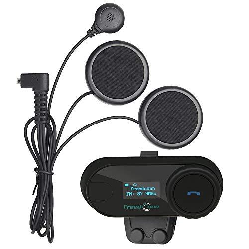 FreedConn TCOM-SC Motorrad Helm Bluetooth Kopfhörer Abnehmbare Freisprecheinrichtung, unterstützt 2/3 Fahrer mit LCD-Bildschirm (Weiches Kabel / 800M / Freisprecheinrichtung/wasserdicht / schwarz)