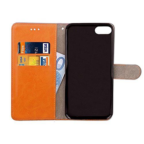 iPhone 7 (4.7 Zoll) hülle , PU Leder Tasche Stil Schutz Geldbeutel Schale Kunstleder Flip Case mit Standfunktion und Kartenfächer Die Hohe Anfire der Qualität Cover für iPhone 7 - Rot Schwarze