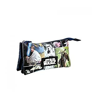 Trousse plate 2 compartiment Star Wars 22 cm avec Luke Skywalker - Yoda - Stormtrooper - etoile de la mort : Star Wars Pencil Case (22x11,5cm)