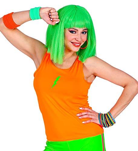 shoperama 80er Jahre Damen Neon Tanktop Leuchtend 80`s UV-Licht Shirt Kostüm-Zubehör, Farbe:Orange