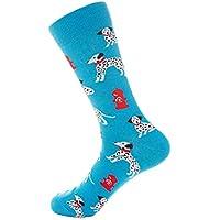 TDPYT Calcetines para Hombre Divertido Estilo Británico Perro Casual Gato Rayas Happy Animal Calcetines Algodón