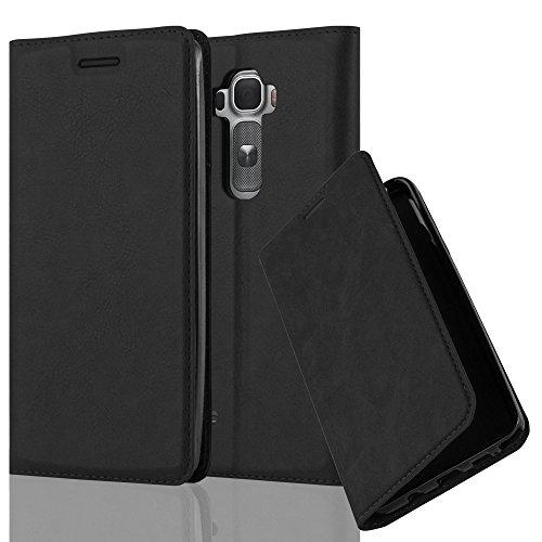 Cadorabo Hülle für LG Flex 2 - Hülle in Nacht SCHWARZ - Handyhülle mit Magnetverschluss, Standfunktion und Kartenfach - Case Cover Schutzhülle Etui Tasche Book Klapp Style (Flex Lg 2 Cover)
