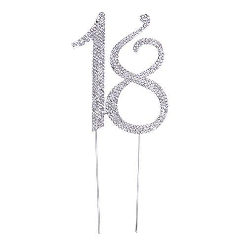 Strass 18 Zahl Kuchendeckel Kuchendekoration für Erwachsene Zeremonie Jahrestag Geburtstag Party Zubehör (Silber) ()