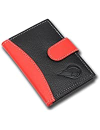RUGE Genuine Leather Black Credit Card Holder, Red Genuine Leather Credit Card Holder, Credit Card Case(25 Card...