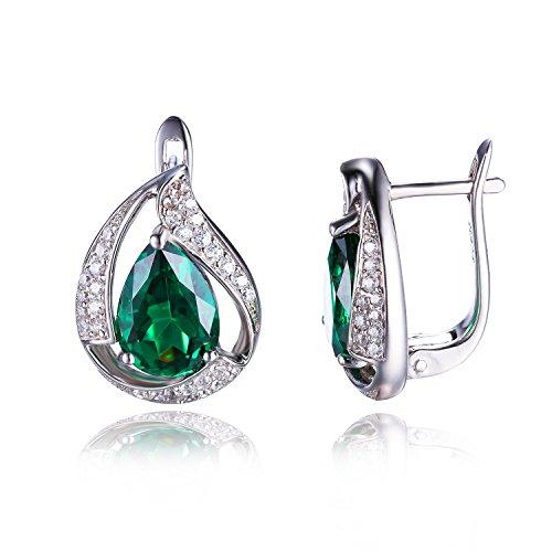 JewelryPalace Pendientes adornado Nano rusa imitado esmeralda y circona en plata de ley 925