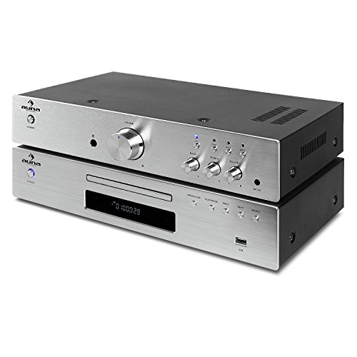 2.0 HiFi-Set HiFi-Verstärker mit CD-Player Kombination (2 x 125 Watt RMS, UKW-Radioreceiver, USB-Anschluss, LCD-Display, Stereo-Cinch-Eingang, ) silber (Halloween Auf Blu-ray)