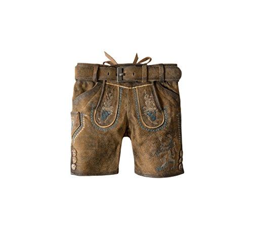 Stockerpoint - Kinder Trachten Lederhose mit Gürtel, Bayern jr. Gr:122-152, Größe:122/128, Farbe:Hanf gespeckt
