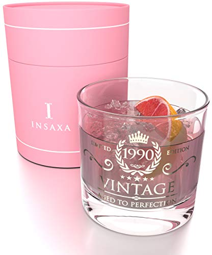 30th Birthday 1990 Vintage Glass Tumblr with Pink Packaging